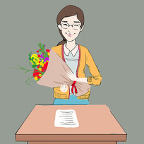 手绘教师节老师人物插画元素