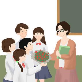 手绘教师节师生情学生老师人物插画元素