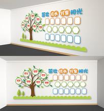 校园文化卡通树照片墙