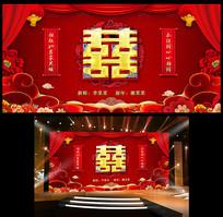 喜庆中国风结婚婚庆典礼酒席舞台背景板