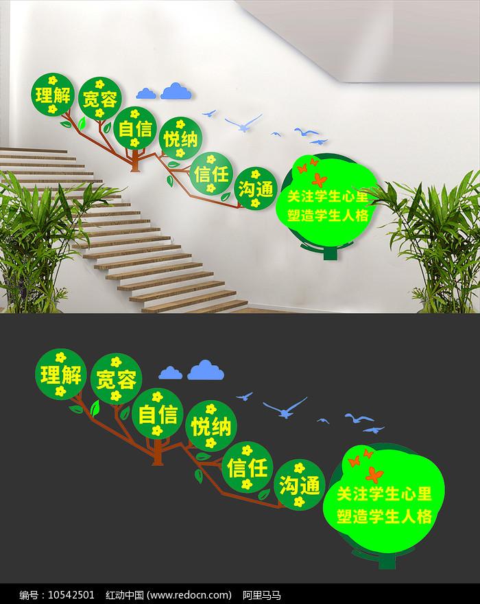 学校楼梯文化墙设计