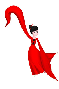 原创手绘跳舞红色衣服美女