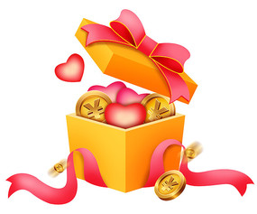 原创元素可爱金币礼物盒