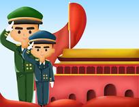原创元素手绘十一国庆节军人插画