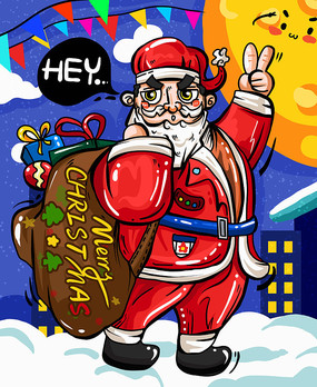 原创元素涂鸦圣诞老人