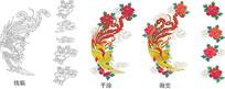 中国风凤凰酒包装插画线条