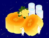 中秋佳节白兔子吃月饼喝桂花酒矢量插画素材