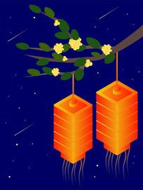中秋佳节桂花树和挂着的红灯笼矢量插画素材