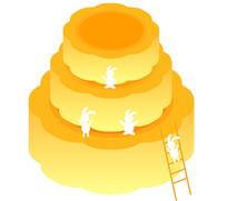 中秋节白兔爬梯吃月饼矢量插画素材
