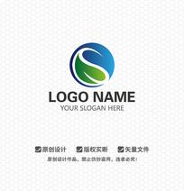 S字母绿叶LOGO设计