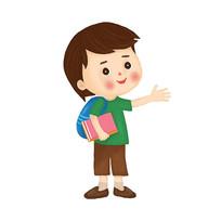 背书包上学的小男孩