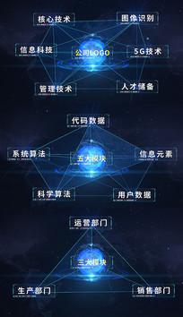 蓝色科技企业连线分类图形AE模板