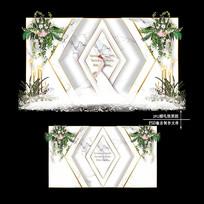 白绿色大理石纹婚礼效果图设计婚庆背景