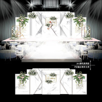 大理石纹婚礼效果图设计婚庆布置背景板
