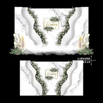 小清新大理石纹婚礼效果图设计婚庆背景