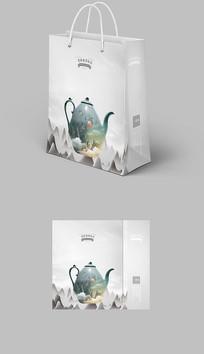 新中式茶叶大气水墨纹理手提袋
