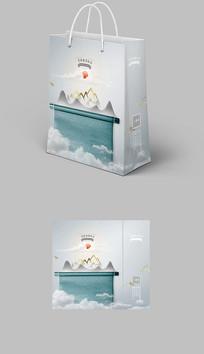 新中式书卷大气水墨纹理手提袋