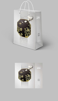 新中式装饰公司水墨纹理手提袋