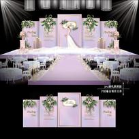 紫色浪漫大理石纹婚礼效果图设计浪漫婚庆