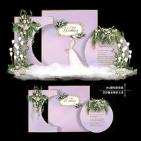紫色浪漫大理石纹婚礼迎宾区效果图设计婚庆