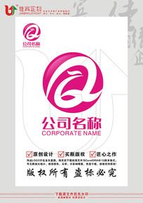 Q英文字母凤凰鸟标志设计