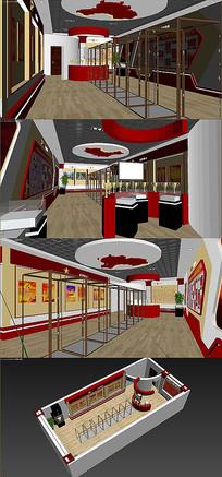 党建展览室3D模型