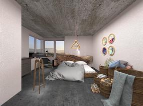 工业风卧室3D模型