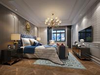 美式主卧室3D模型含高清效果图