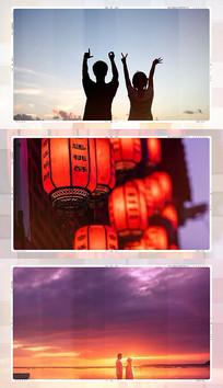 甜蜜家庭旅游婚礼图片展示回忆相册pr模板