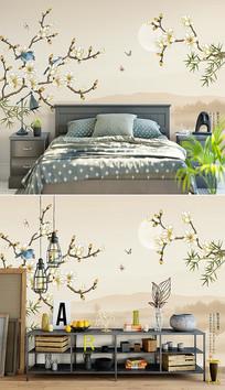 新中式山水玉兰小鸟背景墙设计