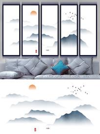 新中式水墨山水画背景墙设计
