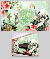玉雕花朵浮雕荷花电视背景墙