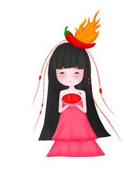 可爱卡通人物辣椒小女孩