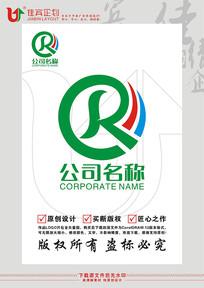 R英文字母金融彩带标志设计