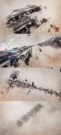 水墨中国风中秋节古镇旅游AE模板