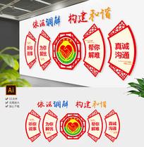 新中式社区人民调解室心里咨询室文化墙