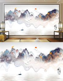 新中式禅意水墨画日出山水画装饰画背景墙