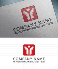 Y爱心字母LOGO标志设计