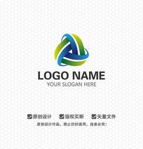 蓝绿色商业科技LOGO设计