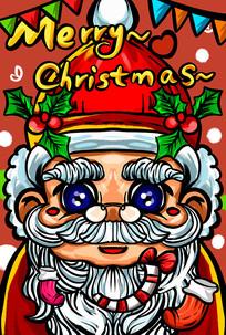 水汪汪大眼睛圣诞老人元素