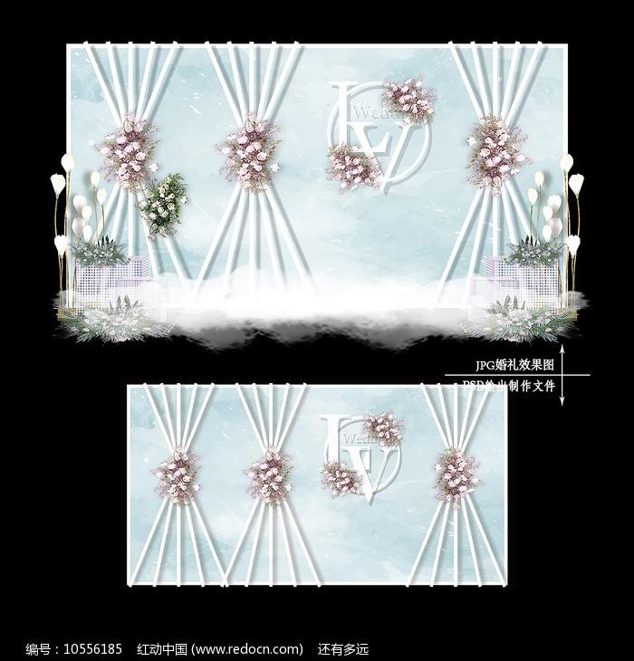 小清新婚礼效果图设计白绿色婚庆背景图片