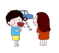 原创卡通情侣约会送花