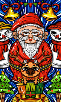原创元素国潮风-圣诞老人