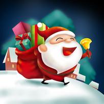 原创元素圣诞背礼物袋老人