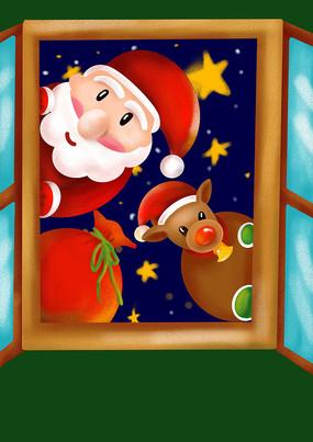 原创元素圣诞老人麋鹿送礼