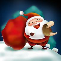 原创元素圣诞礼物袋老人