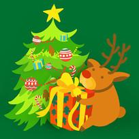 原创元素圣诞树麋鹿