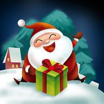 原创元素圣诞送礼物老人