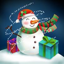 原创元素圣诞雪人礼物盒