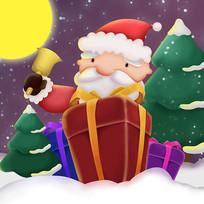 原创元素手绘圣诞老人送礼物元素